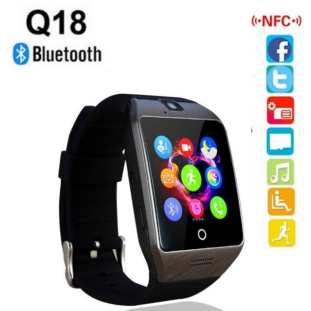 imágenes para Smartch Q18S NFC Bluetooth Reloj Inteligente Con Cámara de Sincronización de facebook Smartwatch SMS MP3 Apoyo TF Tarjeta Sim Para IOS Android teléfono