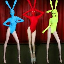 Trajes de dança jazz feminino bunny girl bodysuit traje sexy cantor feminino dj ds gogo aniversário palco roupas mostrar dn2543