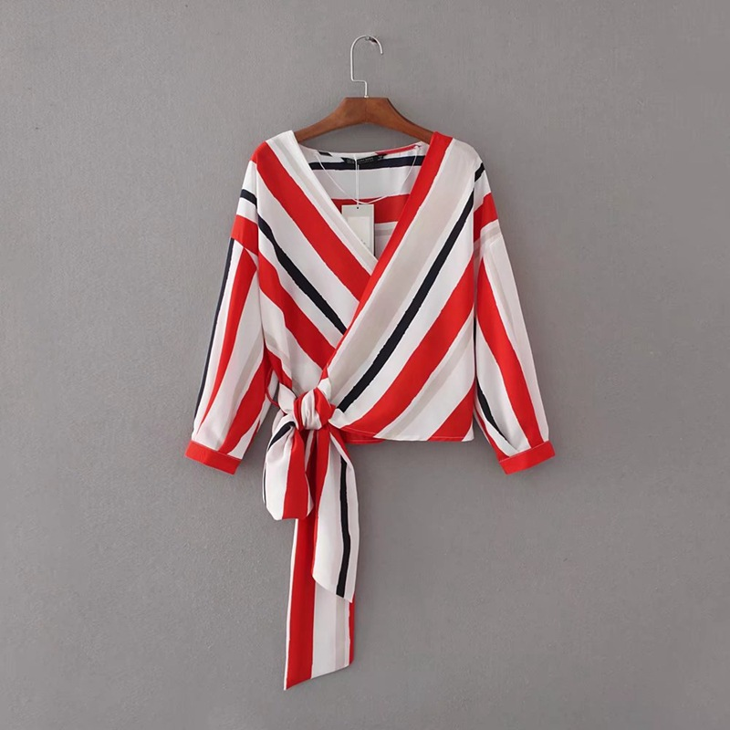 Loose Striped Women Shirts V Neck Long Sleeve Waist Tie