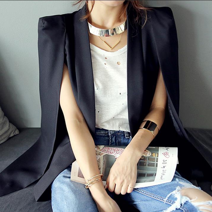 Women Cape Suit Split Long Sleeve Casual Blazer Ol Workwear Women's Blazers