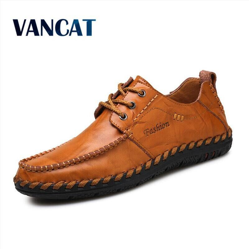 VANCAT 2018 New Men Loafers Luxury Brand Men Shoes Fashion Casual Male Shoes Lace Men Leather Shoes Designer Leather Flat Shoes cbjsho brand men shoes 2017 new genuine leather moccasins comfortable men loafers luxury men s flats men casual shoes