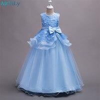 Платья для девочек на свадьбу дети лепесток свадебное праздничное платье для маленькой принцессы с бантом длинное Длина платье Детская оде...