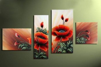 hand-painted wall art summer green leaves flowers  home decoration abstract  Landscape oil painting on canvas 4pcs/set mixorde