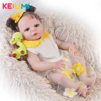Unique 23' 57 cm Baby Reborn Baby Girl Full Silicone Body Reborn Dolls Realistic Kids Playmates Baby Toys Girl Christmas Gifts