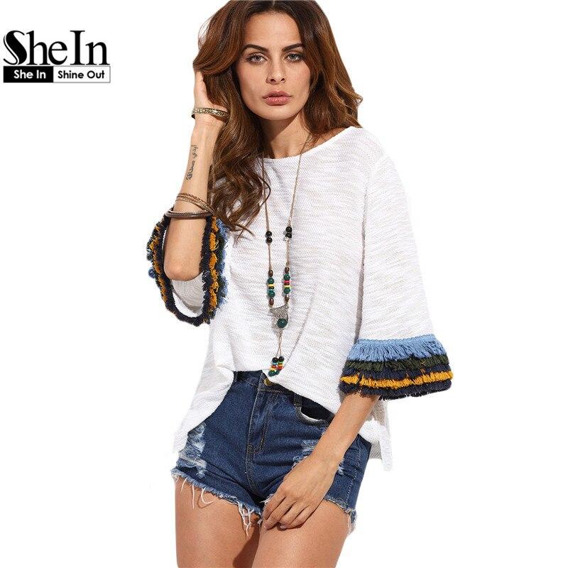 Shein womens casual clothing  camiseta del verano tops de las señoras beige frin