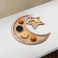 Houten Eid Diner Plaat Mubarak Ster Maan Tafel Decoratie Dessert Lade Voedsel Dienblad Snack schotel plaat keuken thuis supply Vaatwerk & Borden Huis & Tuin -