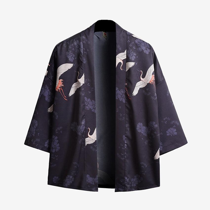 Samurai Men Summer Japanese Jacket Coats Crane Print Harajuku UKIYO-E Cardigan Haori Oriental Male Loose Outfits Streetwear