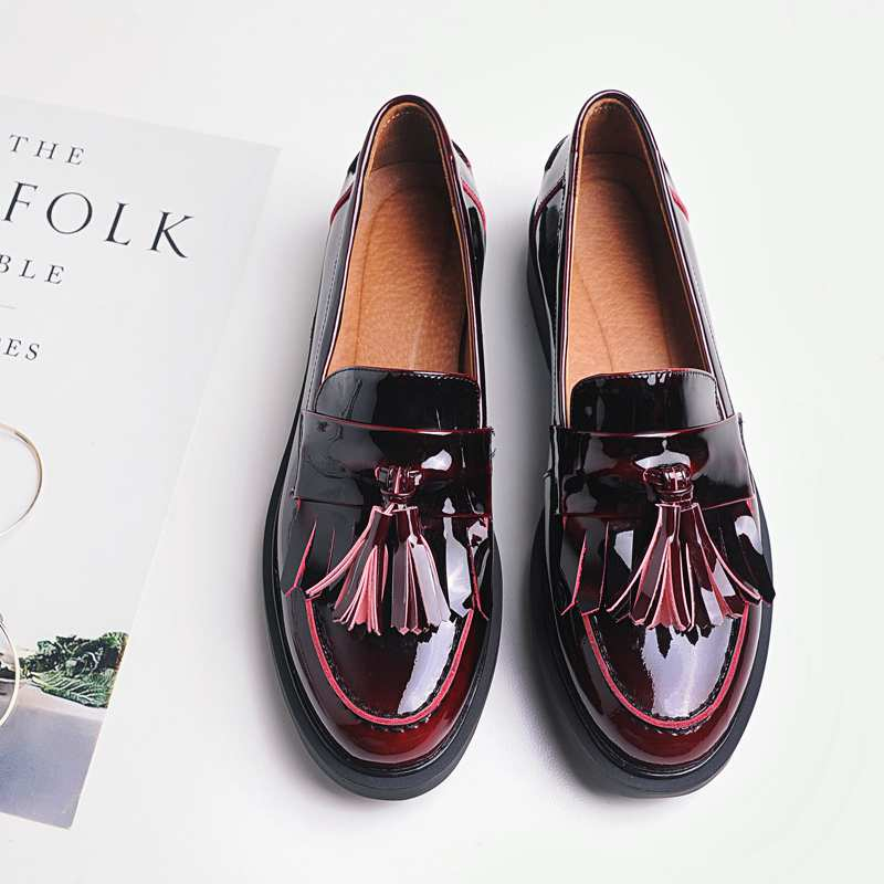 ФОТО 2017 Shoes Women Med Heels Tassel Slip on Women Pumps Solid Round Toe High Quality Loafers Preppy Style Lady Casual Shoes 17