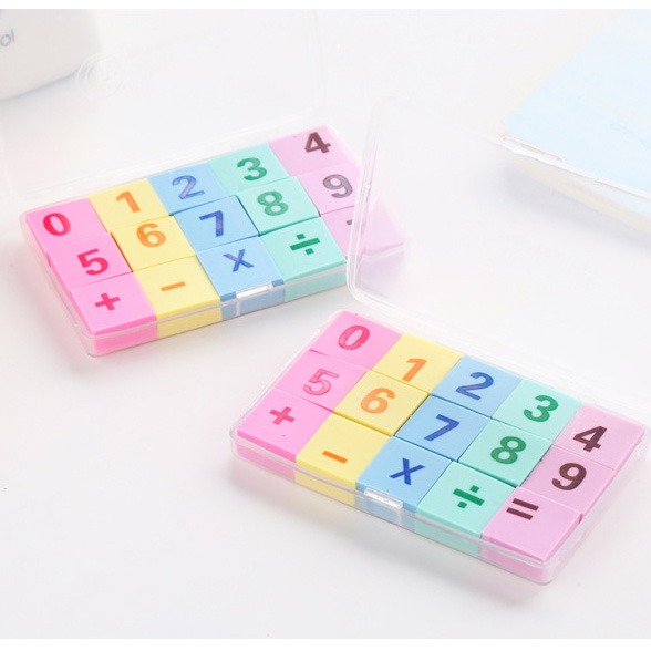 120pcs=8sets Kawaii Soft Eraser Cute Number Rubber Erasers For Kids School Student Pencil Eraser Stationary Supplies Gift Items