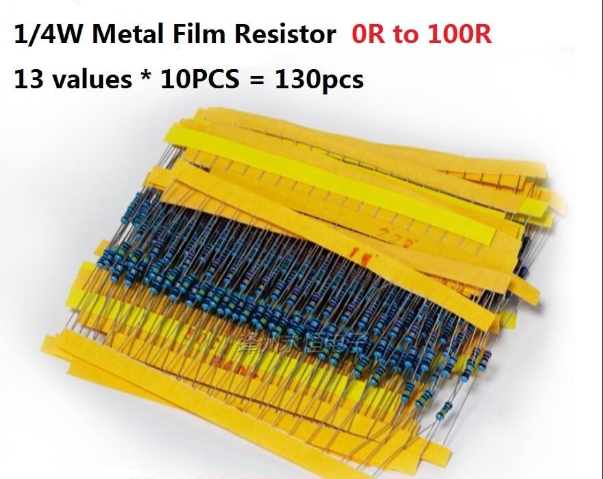 13values*10PCS=130PCS 0 Ohm-100 Ohms  1/4W 5% Metal Fillm Resistor Kit Set 0R To 100R Assorted Assortment 1R 2.2R 4.7R 5.1R Pack