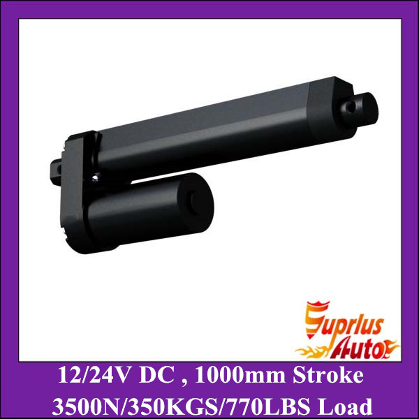 High quality 1000mm long stroke 3500N/350KGS heavy load 8mm/s speed 12V DC black linear actuator