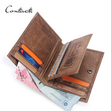 CONTACT'S men wallets casual purse for men genuine leather wallet short men's card walet thin man's purse male card holders slim(China)