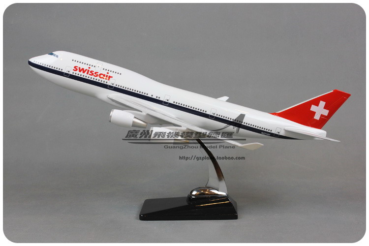 47cm Switzerland Boeing 747 Airplane Model Resin Swiss Airlines Airbus Model B747-400 Static Flying Aircraft Diecast Scale Model47cm Switzerland Boeing 747 Airplane Model Resin Swiss Airlines Airbus Model B747-400 Static Flying Aircraft Diecast Scale Model
