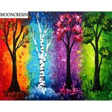 New 5D Diy Diamond Painting Needlework Landscape Four Seasons Tree Embroidery Cross Stitch Mosaic Arts Christmas Decor