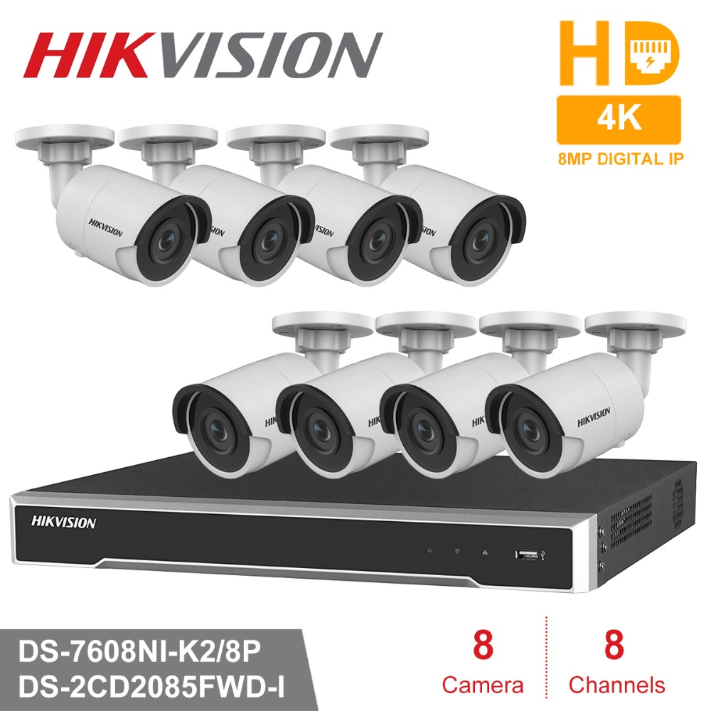 8CH HD Network POE NVR Kit CCTV Security System 8pcs 8MP Bullet Outdoor IP Camera IR Night Vision Surveillance Set hik 8ch hd poe nvr kit 6pcs 8mp ds 2cd2085fwd i cctv security system bullet outdoor ip camera ir night vision surveillance set