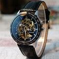 Excelente Qualidade NOVA Mão Mecânica do Vento Relógios Vestido de Aço Inoxidável Relógios de Pulso Pulseira de Couro dos homens de Negócios Masculino