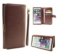 Hand Strap Card Wallet Touch Screen Mobile Phone Leather Case Bags For IPhone 6 6s Plus