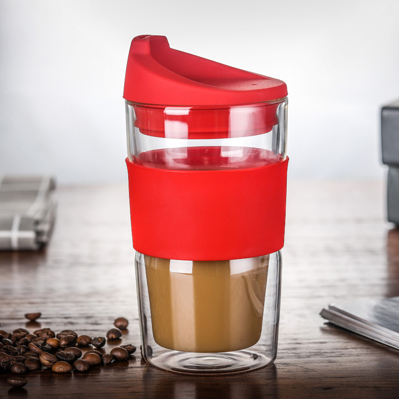 350ml Travel Glass Mug Outdoor Coffee Cup Double Glass Car Water Cup Insulation Non-slip Cover Office Gift Round