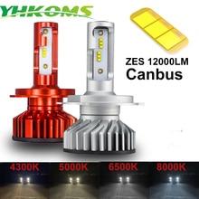 YHKOMS Canbus H4 H7 H1 H11 LED 4300 K 5000 K 6500 K 8000 K רכב פנס H3 H8 H9 h11 880 881 LED הנורה אוטומטי ערפל מנורת 12000LM ZES