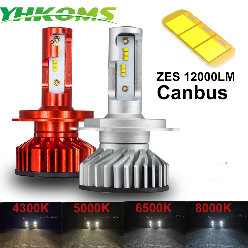 YHKOMS Canbus H4 H7 H1 H11 LED 4300K 5000K 6500K 8000K Car Headlight H3 H8 H9 H11 880 881 LED Bulb Auto Fog Lamp 12000LM ZES