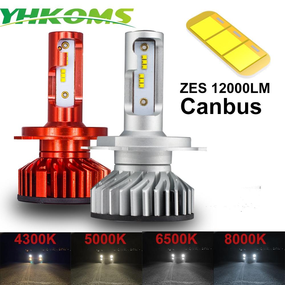 YHKOMS Canbus H4 H7 H1 H11 Светодиодный фонарь, 4300K 5000K 6500K 8000K, автомобильная фара H3 H8 H9 H11 880 881 светодиодный противотуманный фонарь 12000LM ZES