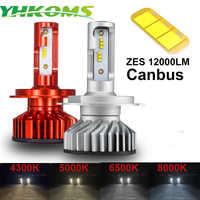 YHKOMS Canbus H4 H7 H1 H11 LED 4300K 5000K 6500K 8000K Car Headlight H3 H8 H9 H11 880 881 LED Bulb Auto Fog Lamp 12000LM ZES