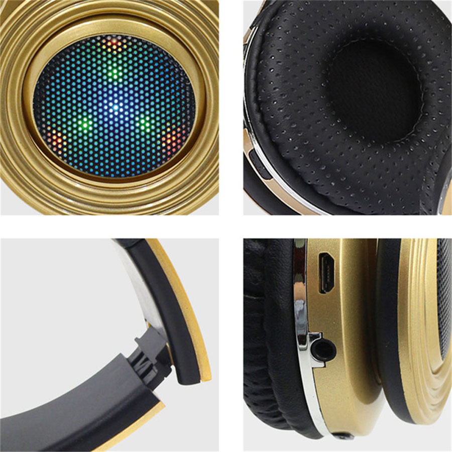 Stereo Wireless Bluetooth Headphone Music Headset Support TF Card FM Radio LED Light Earphone With Mic For Samsung MP3 Handband