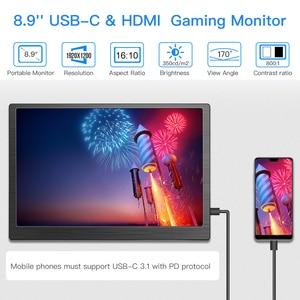Image 3 - Eyoyo 8.9 inch Portable USB C Mini Monitor 1920x1200 IPS Display w/ USB C&HDMI Video Input compatible with MAC Laptop