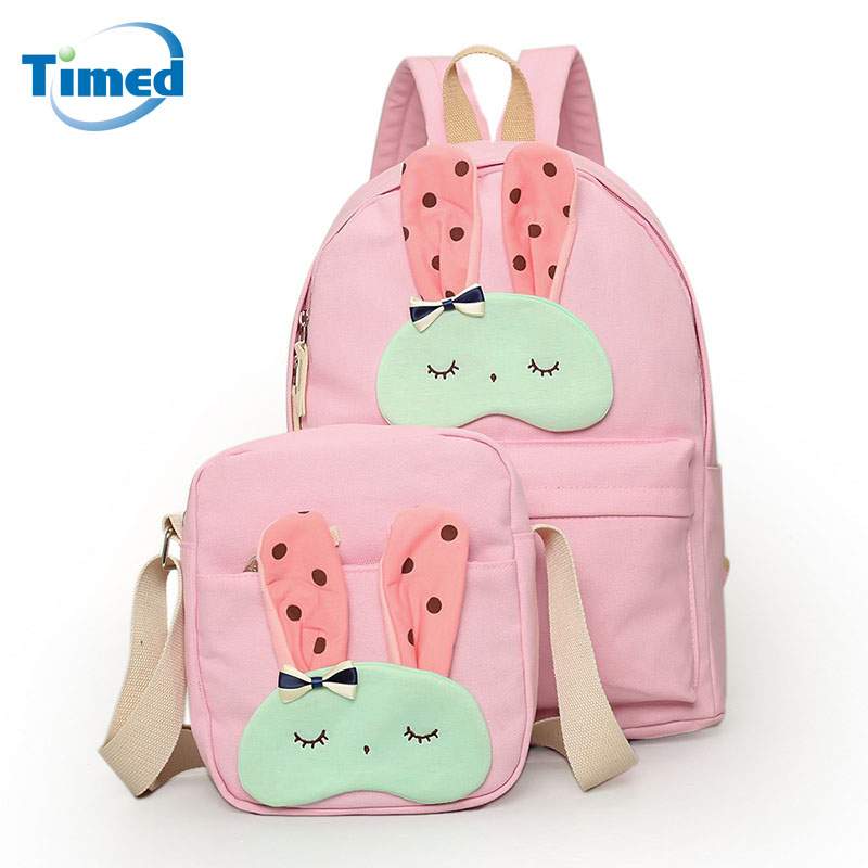 New Desgin Women s Backpacks Carton Casual Student School Bag Two Pieces High Quality Canvas Big