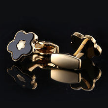 QiQiWu Gold Cufflinks Mens Wedding Luxury Party French Shirt Cuff link Men Flower High quality links Christmas Gifts Cuffs