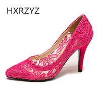 HXRZYZ lace high heel women shoes 2017 fashion new wedding shoes sexy pointed toe dress shoes cut out woman summer party pumps