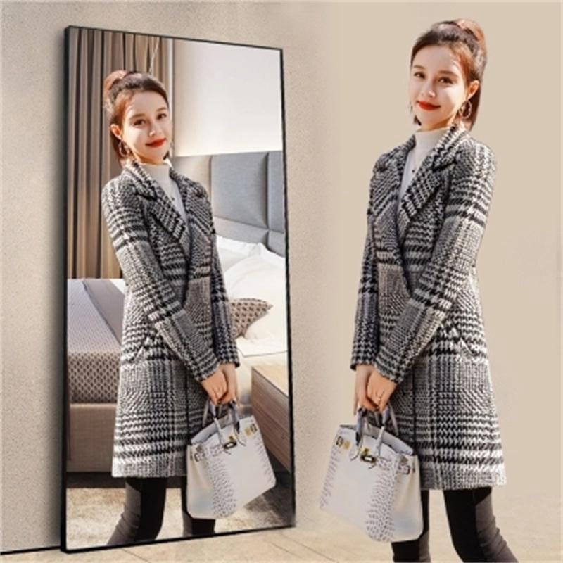 Ms Plaid coat and Jackets Ladies Autumn New Double breasted Woolen coat female long section slim