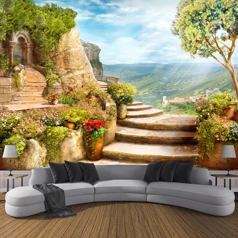 Custom Mural Wallpaper 3D Stereoscopic Space Balcony Stairs European Garden View Wall Painting Living Room Decor Photo Wallpaper