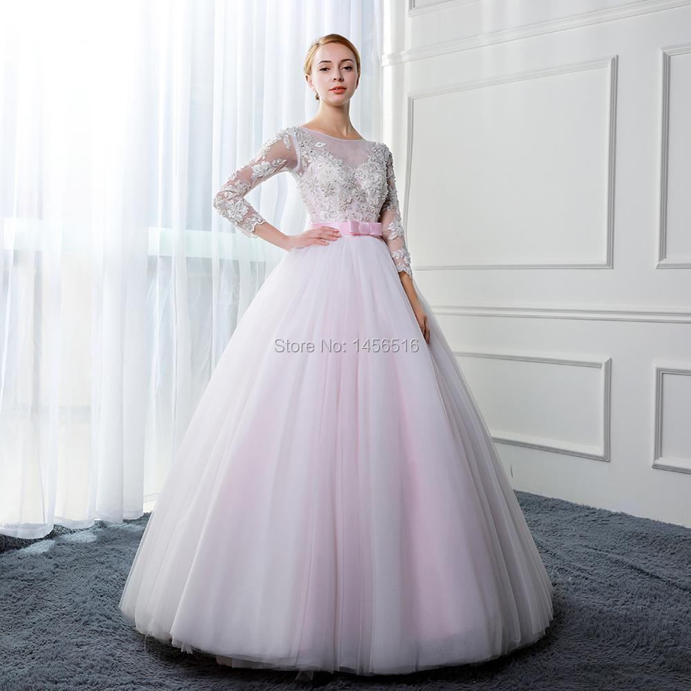 d6cadbf0cf Menoqo Beautiful Ball Gown Pink Wedding Dresses 2019 Real Photo ...
