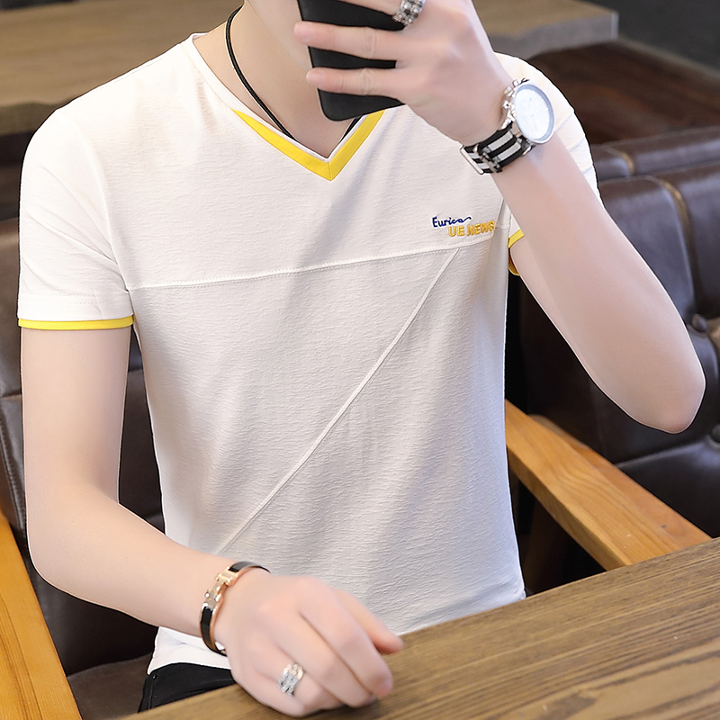 2019 summer new solid color v-neck youth male Korean version of the trend of men's short-sleeved cotton t-shirts 4