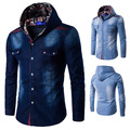 "Hot Spring 20178 new Korean men ""s fashion hooded jeans long-sleeved shirt casual wild shirt"