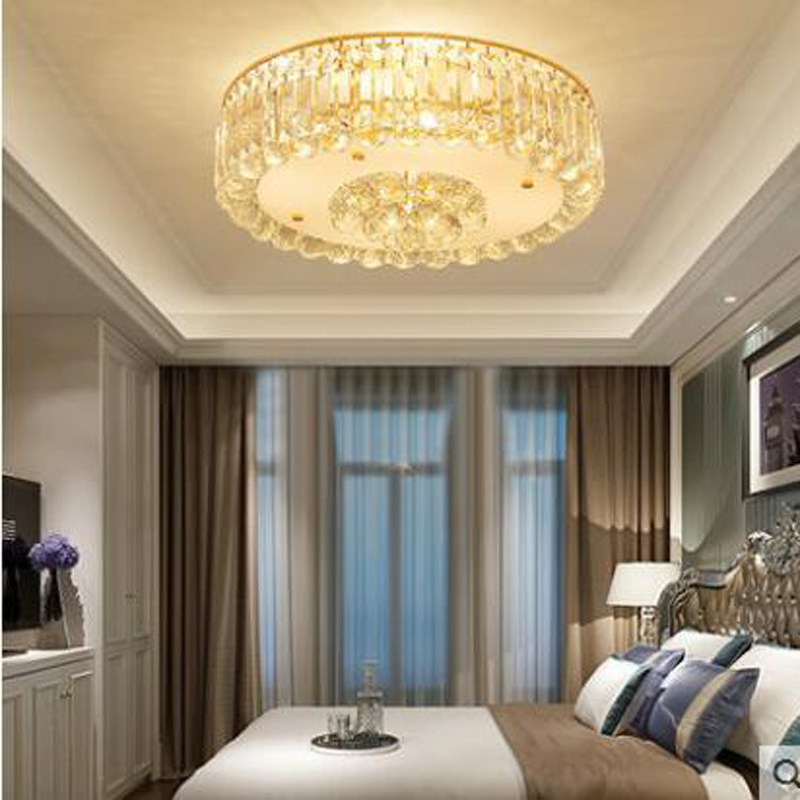 Simple modern bedroom lights romantic ceiling lamp crystal lamp round restaurant lights  ...