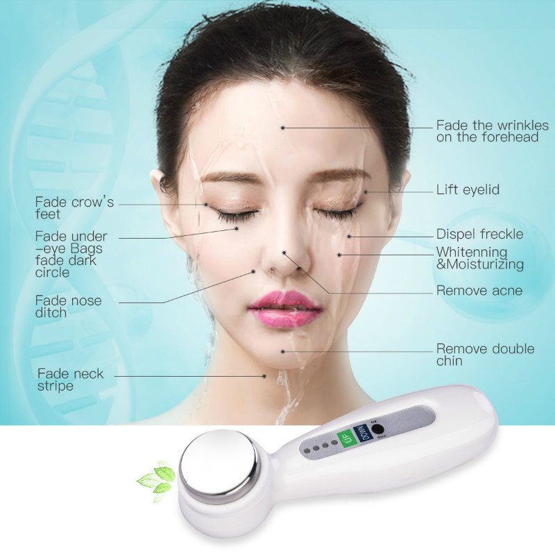 Portable Skin Massager Ultrasonic Vibration Beauty Instrument Electric Slimming Massager Whitening Face Skin Wrinkles Removal P0 portable ultrasonic skin care instrument facial massager cleansing wrinkles beauty machine
