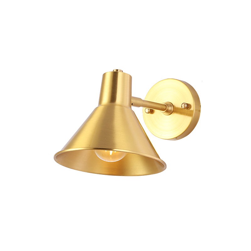 100% pure copper cone wall light brass sconce lighting fixture LED brass wall lamp 17cm size copper horn shade lighting d180mm brass bell copper cone lampshade fabric wire pendant lamp fixture brass lighting for cafe restaurant ceiling room led