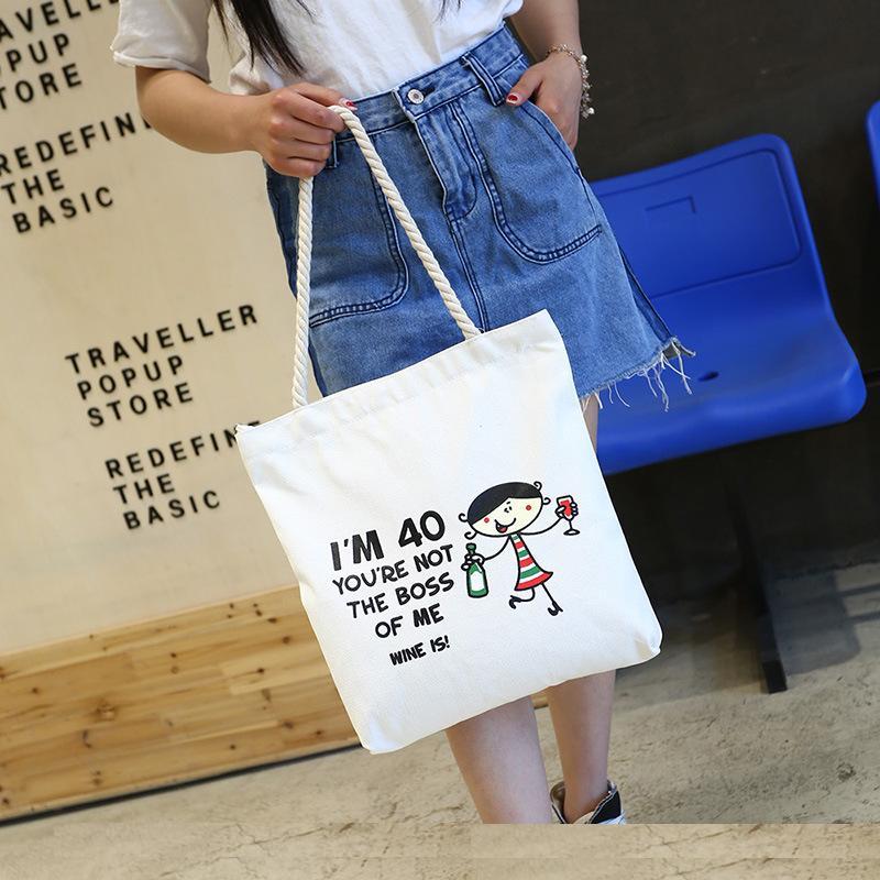 Canvas Shopping Bags With Zipper Eco Reusable Foldable Shoulder/Handbag Tote Bag Casual Shoulder Travel/ School Bag