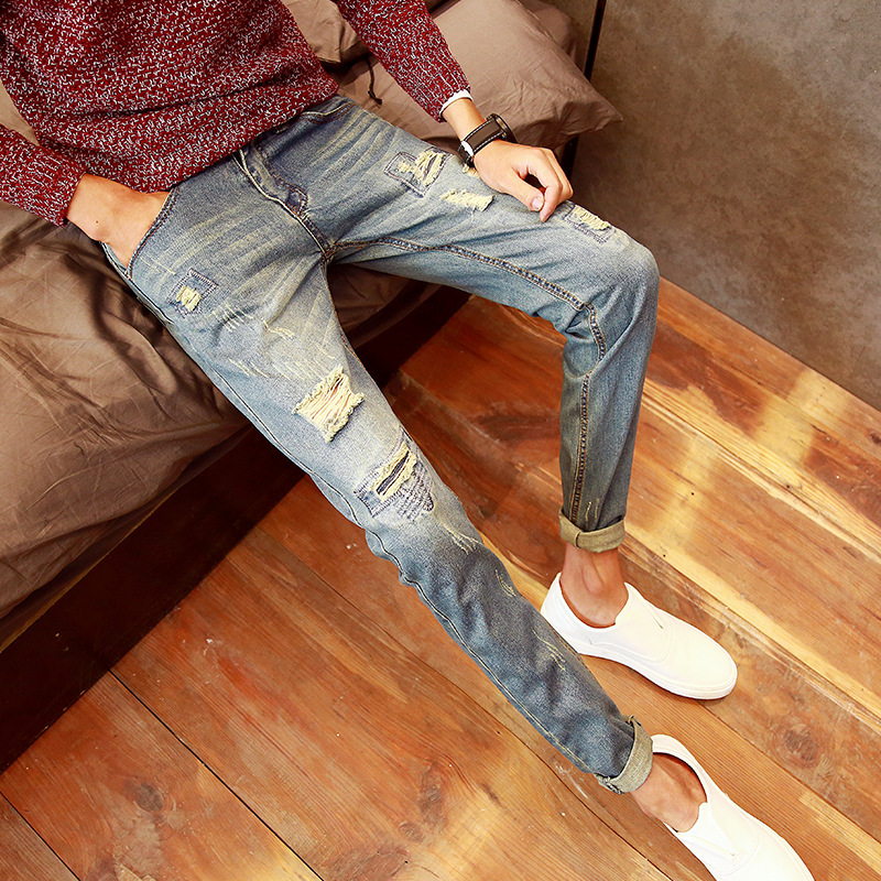 Fashion men mid waist pencil knee broken hole jeans pants slim fit 2017 Spring New Arrival