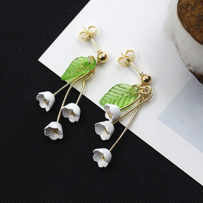 Linnor 2017 új mori friss liliom a völgy fülbevaló lány fehér virág zöld levél fülbevaló címer hosszú brincos vár vár