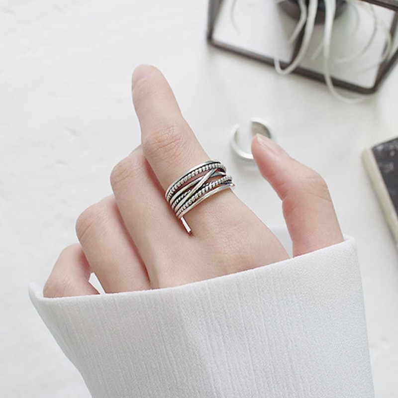 ROCKART Hyperbole 100% Silver 925 Rings Retro Style Cool Punk Jewelry Hiphop Rock Antique Looking Wide Ring For Women Unique NEW punk style solid color hollow out ring for women