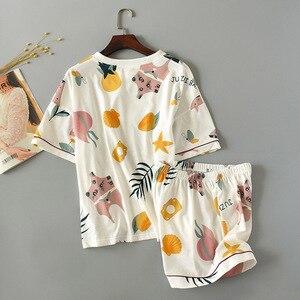 Image 3 - 2019 Summer And Spring Ladies Pajamas Set Women Cute Cartoon Printed Sleepwear Set 2Pcs Short Sleeve+Shorts Full Cotton Homewear