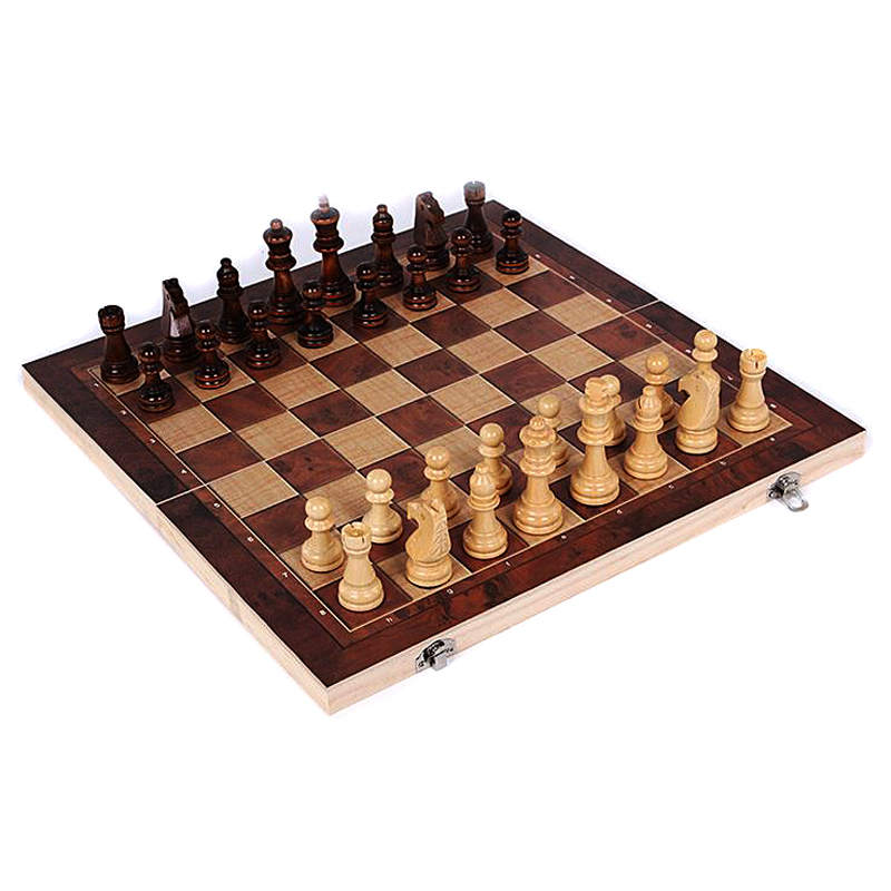 Wooden International Chess Set Board 3 In 1 Travel Games Chess Backgammon Draughts Entertainment