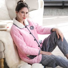 Winter coral velvet three-layer quilted padded warm pajamas ladies sweet  casual plus velvet cotton 931745382