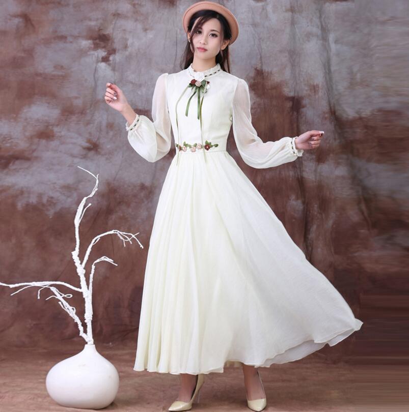נשים סתיו אביב בציר אלגנטית פרחוני רקמת Bow Dressess גבירותיי שרוול ארוך שיפון ארוך מפלגה שמלת שמלת רטרו w704