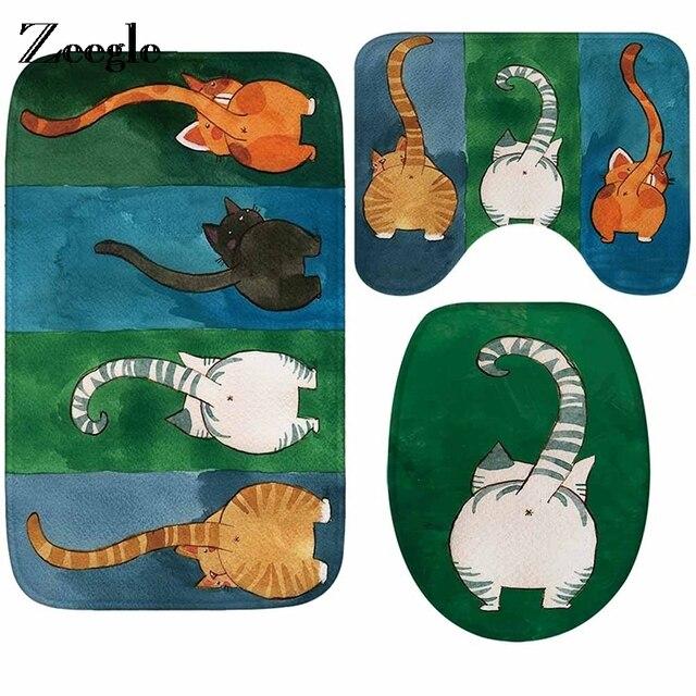 Zeegle Cat Pattern Bathroom Carpet Bath Mats Toilet Rug Absorbent Shower Rugs And Carpet Floor Mats Pads Toilet Seat Cover Mat