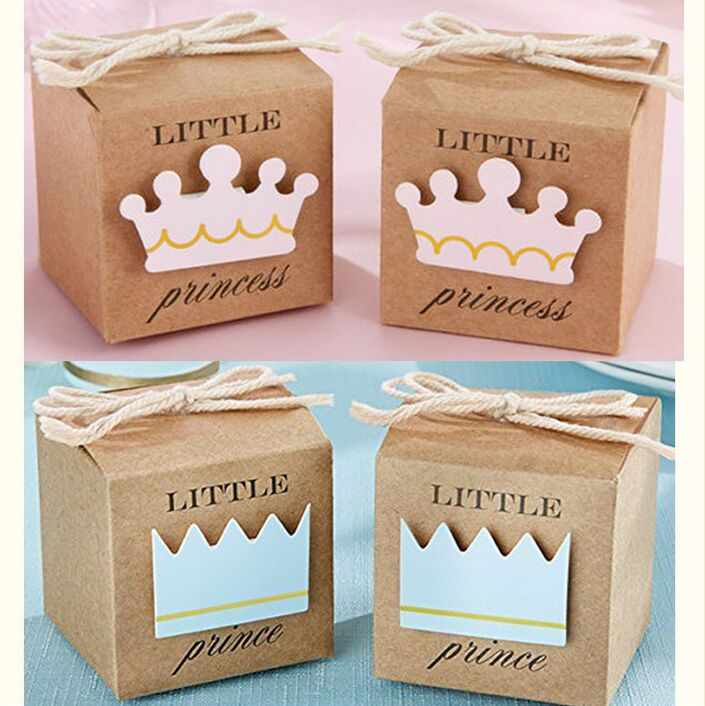 Casamento 100Pcs Brown Kraft Paper Little Prince Princess Wedding Candy Box Baby Shower Chocolate Box Wedding Favors And Gifts