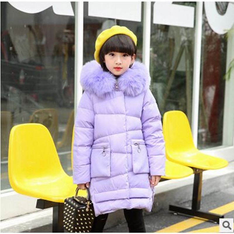 Winter girl down jacket girl jacket 2017 fashion big fur collar coat warm color pink, red, purple, black, rose red 3 color red pink blue cherry cardigan coat